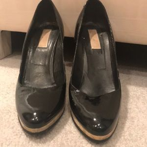 Black patent leather platform heels